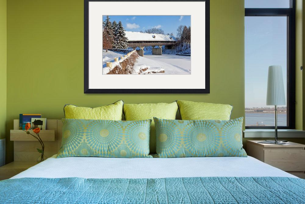 """""""Snow Covered Wooden Bridge on a Winter Day&quot  (2013) by sterk"""