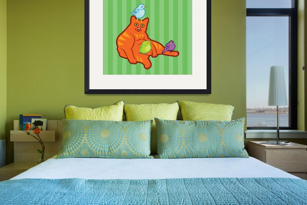 """""""Fat Cat and Birds&quot  (2012) by maryostudio"""