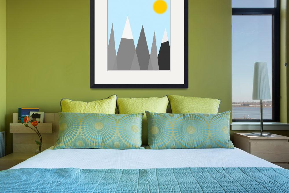 """""""Mountain and Sun Print, Digital Print, Grey Mounta&quot  by motionage"""
