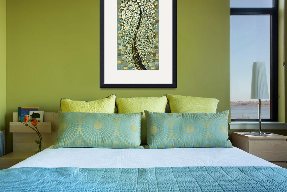 """""""Weeping White Cherry Blossom Tree - vintage style&quot  (2009) by modernhouseart"""