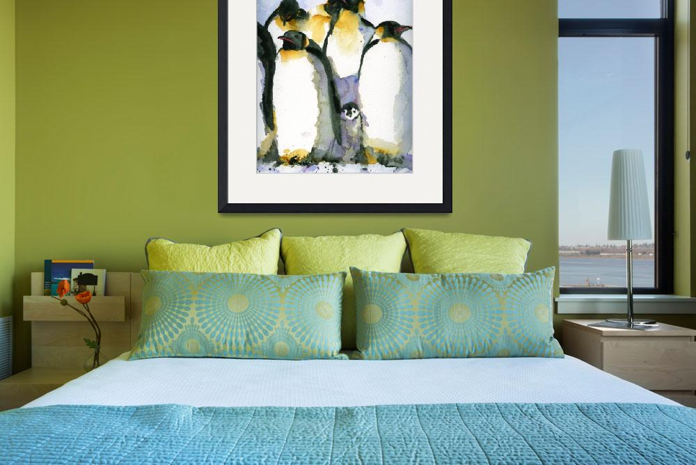 """""""Just Chillin, Watercolor Painting of Penguins art&quot  by schulmanart"""