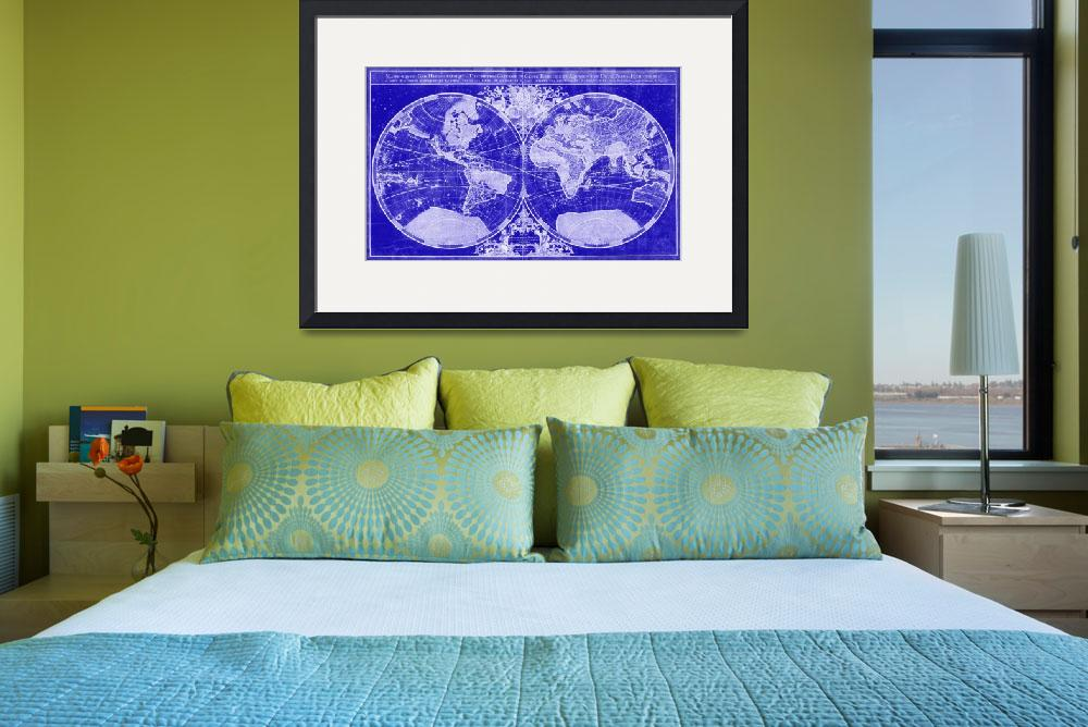 """""""World Map (1691) Blue & White&quot  by Alleycatshirts"""