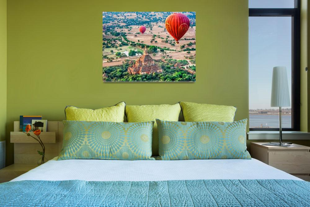 """""""Balloons Over Temples of Bagan&quot  (2012) by mjphoto-graphics"""