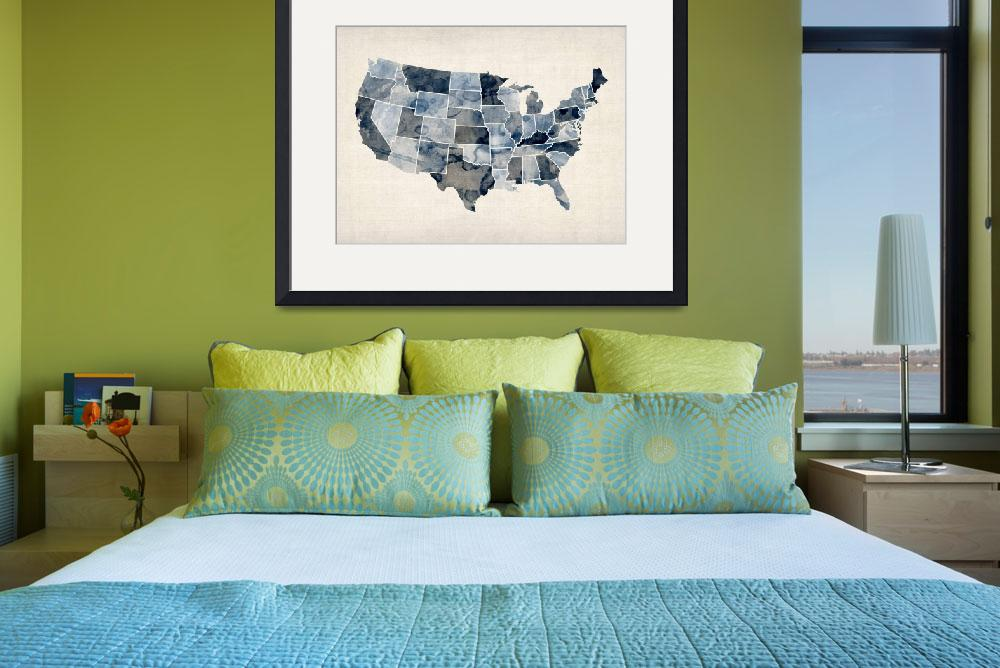 """""""United States Watercolor Map&quot  (2012) by ModernArtPrints"""