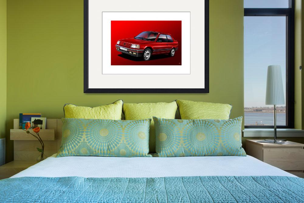 """""""C:\fakepath\peugeot 309 gti red flat""""  (2014) by Auto-Graphics"""