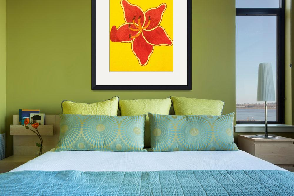 """""""lilly sunburst with yellow background&quot  (2010) by bbeards4"""