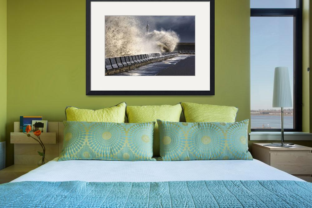 """Waves Crushing Against Barrier, Sunderland, Tyne A&quot  by DesignPics"