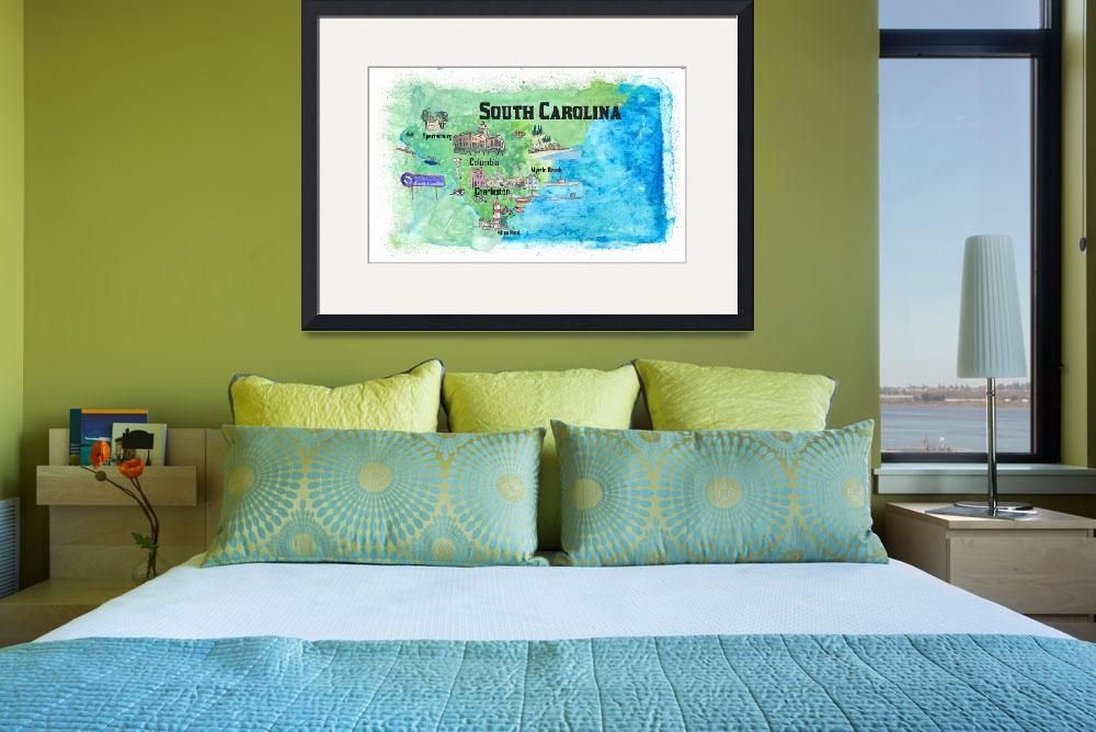"""USA South Carolina State Travel Poster Map with To&quot  (2019) by arthop77"