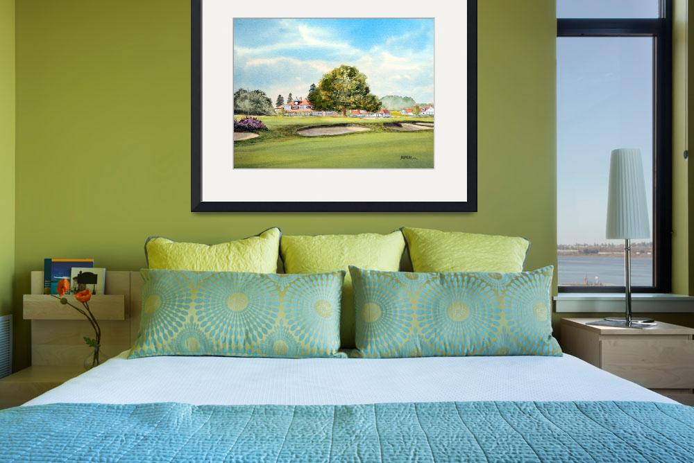 """""""Sunningdale Golf Course 18th Green Painting&quot  (2015) by billholkham"""