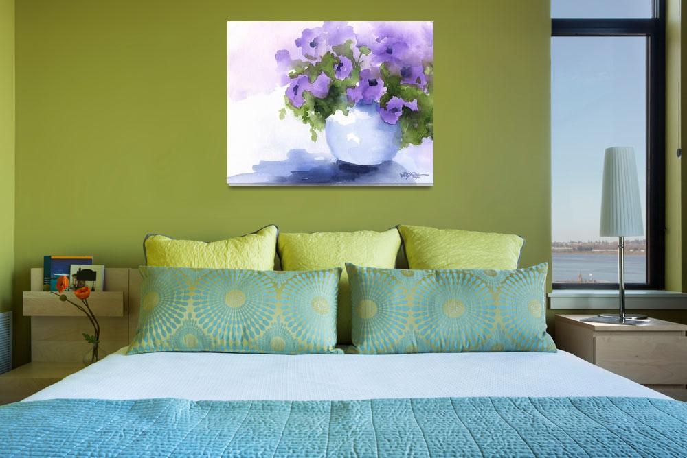 """""""Purple Flowers in Vase""""  (2015) by k9artgallery"""