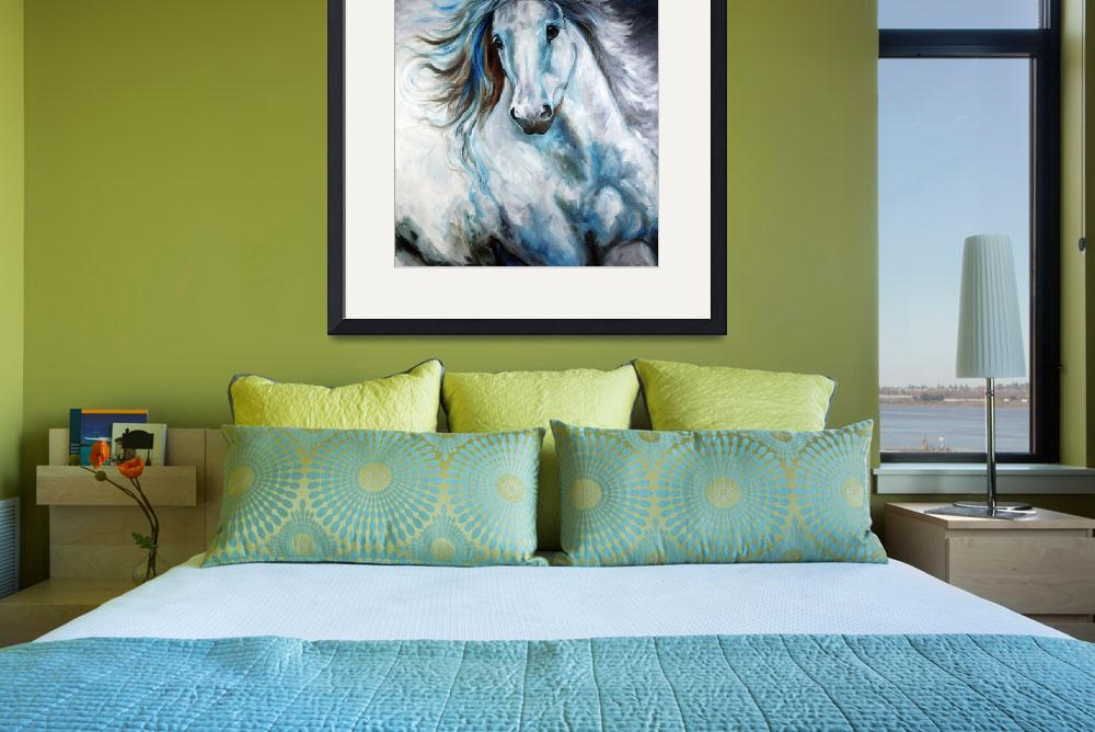"""""""WHITE THUNDER ARABIAN EQUINE ABSTRACT&quot  (2010) by MBaldwinFineArt2006"""