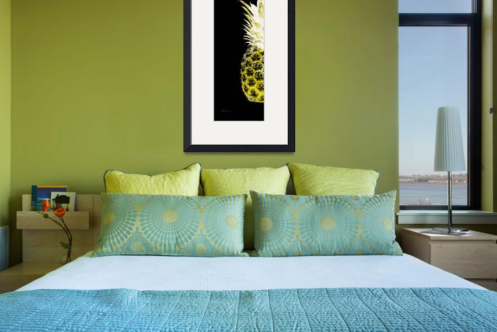 """""""14NL Artistic Glowing Pineapple Digital Art Yellow&quot  (2016) by Ricardos"""
