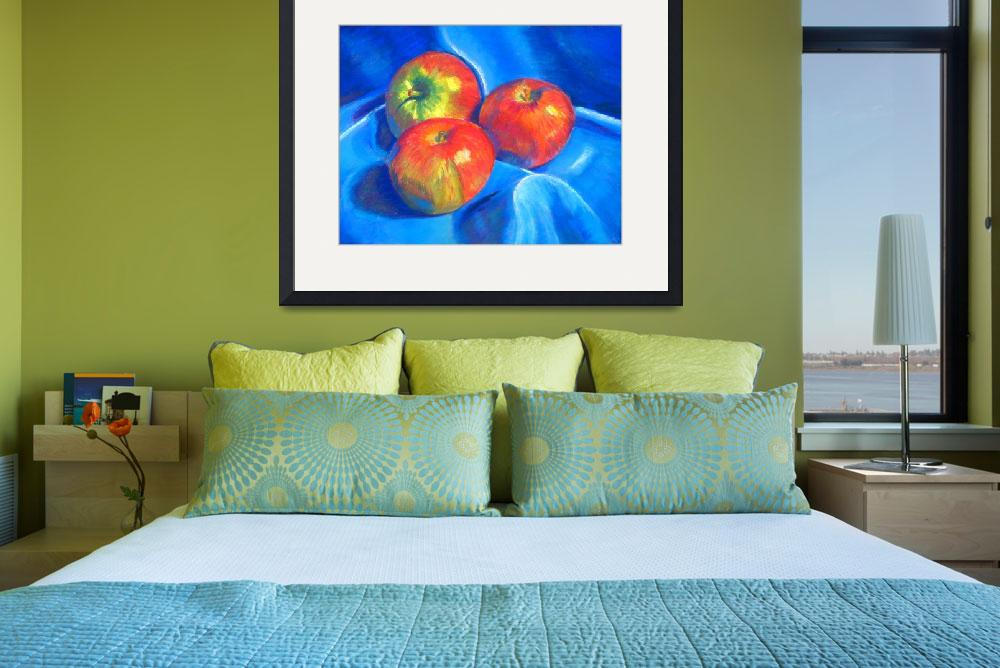 """Apples on blue cloth""  (2009) by ArtbyMarionHedger"