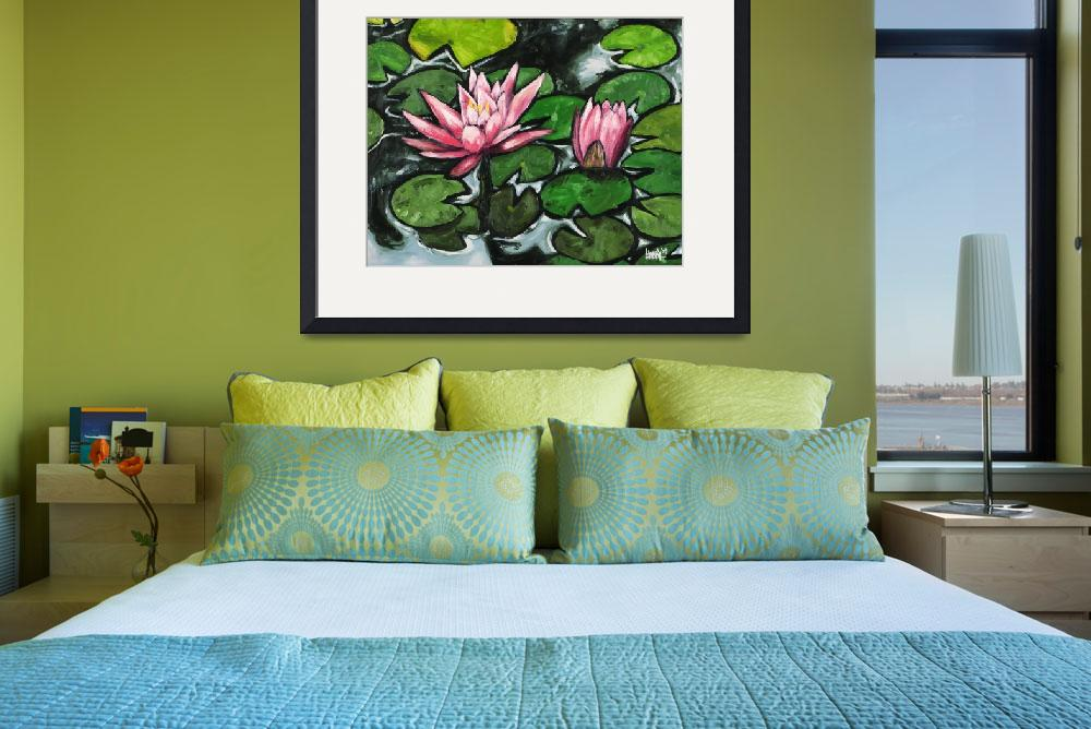 """""""Lily Pads With Pink Flowers&quot  (2009) by harryboardman"""