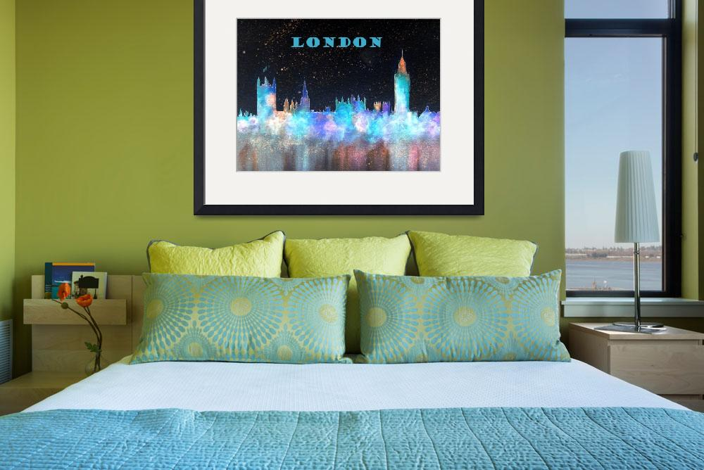 """London Skyline With Banner&quot  (2015) by billholkham"