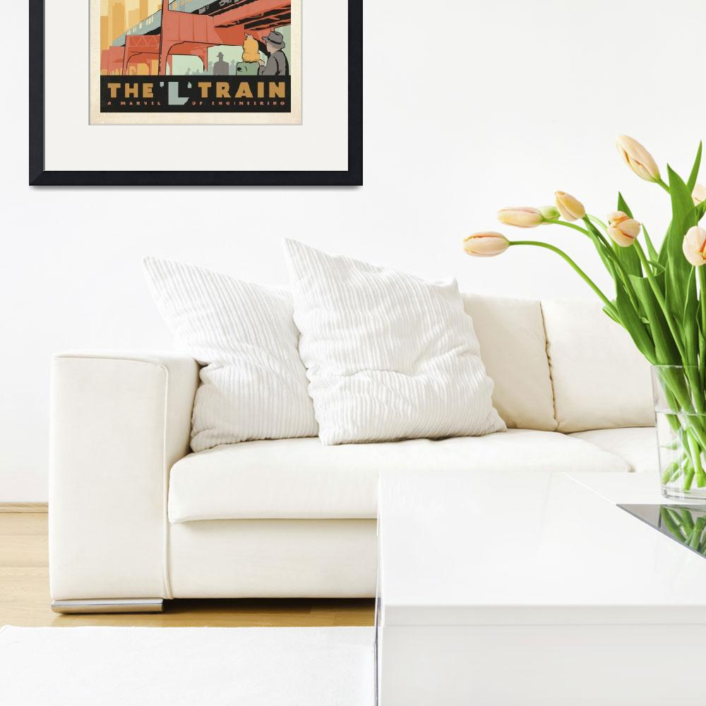 """""""The L Train, Chicago, Illinois Retro Travel Poster""""  by artlicensing"""