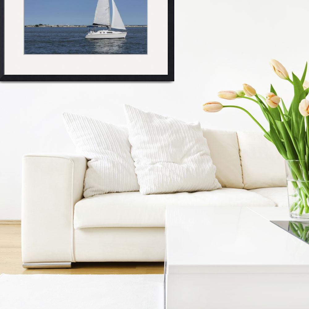 """""""White Sailboat In The Harbor&quot  (2017) by StonePhotos"""