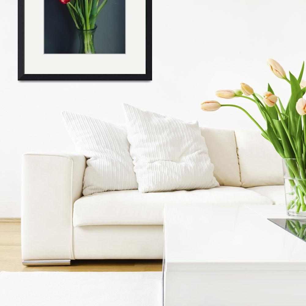 """""""Bouquet of Tulips in Glass Vase&quot  (2019) by Lauradrakeenberg"""