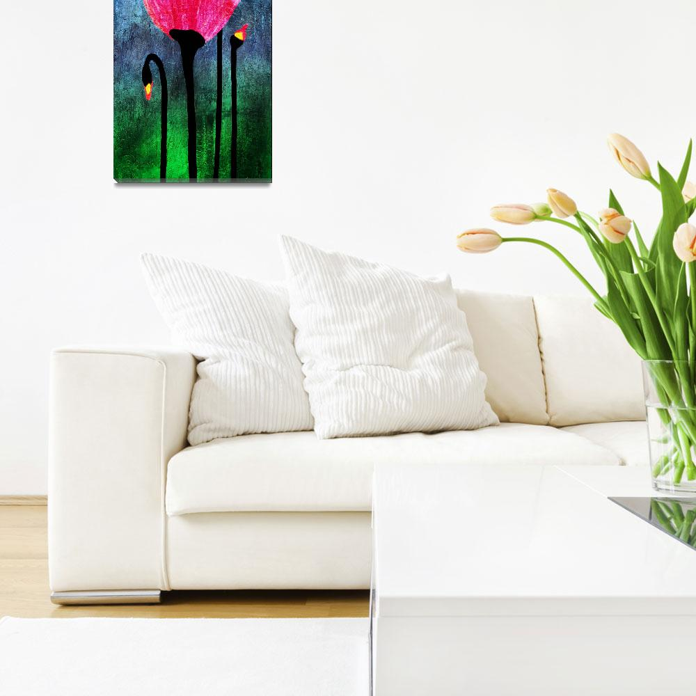 """""""32a Expressive Floral Poppies Painting Digital Art""""  (2016) by Ricardos"""