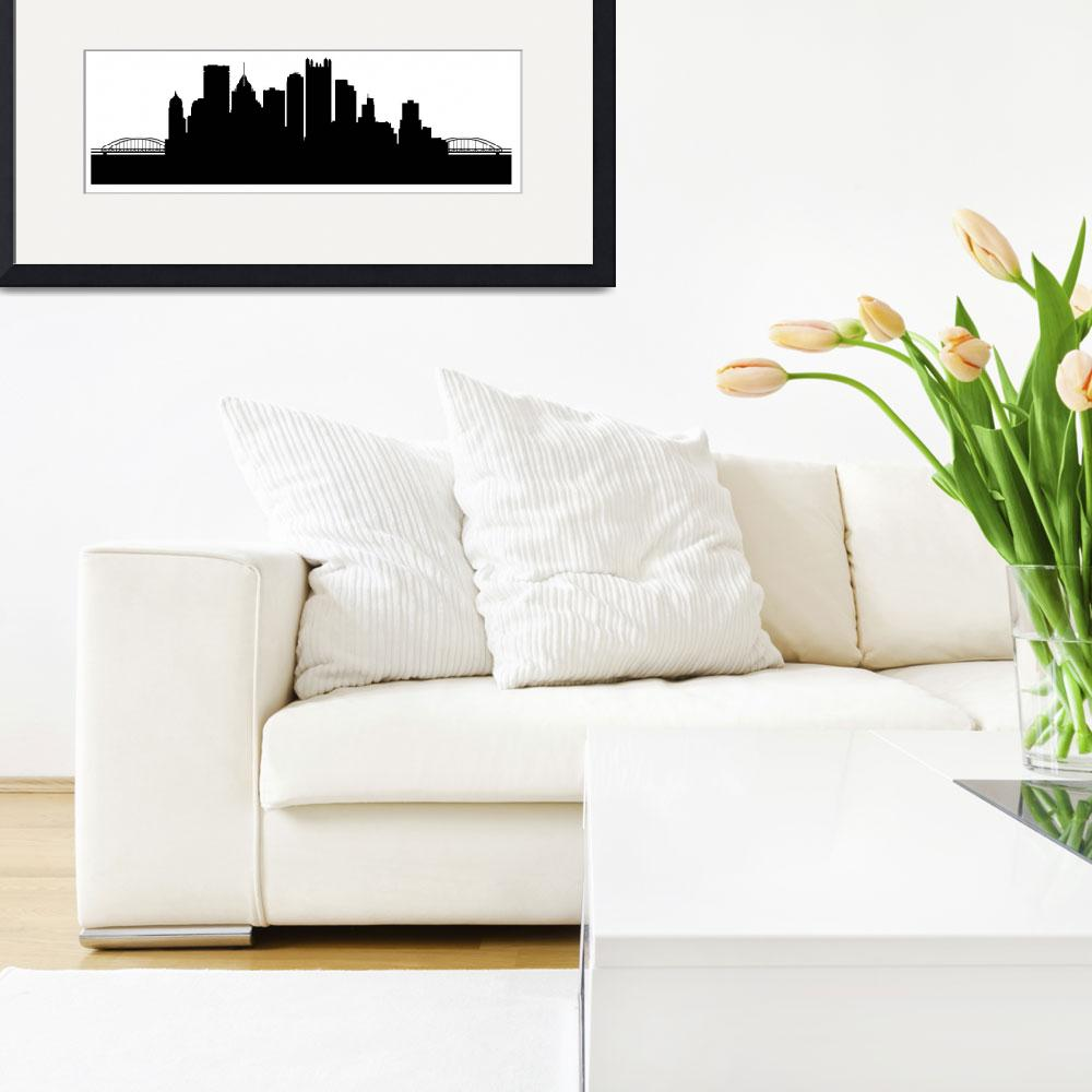 """""""Pittsburgh Cityscape Skyline&quot  (2015) by KWGart"""