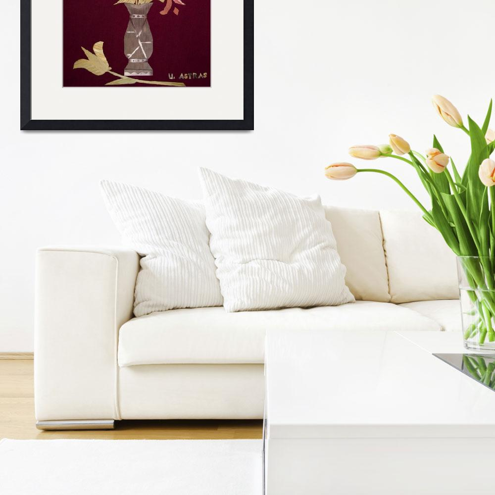 """""""Colored Tulips in Straw on Burgundy Velvet&quot  (1994) by UrsulaAstras"""
