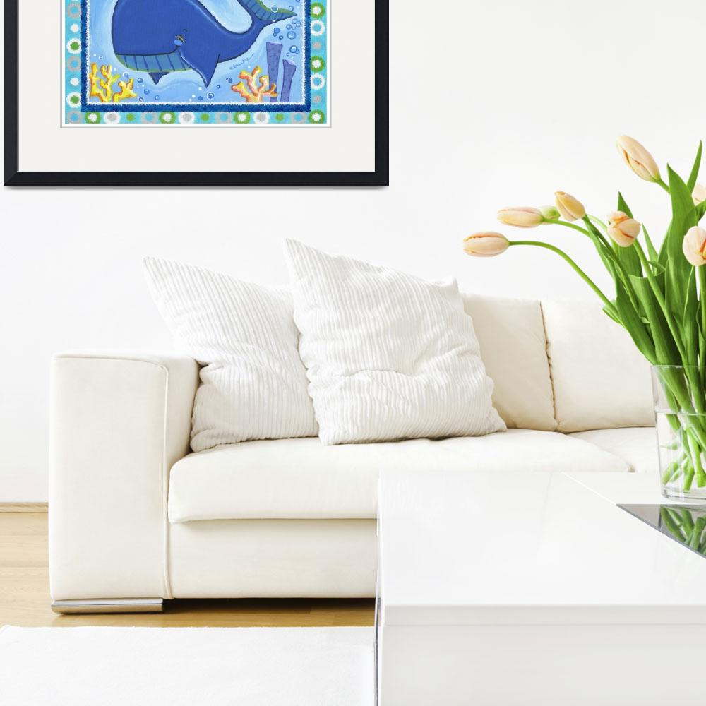 """""""Whale (with border)&quot  by Littlepig"""