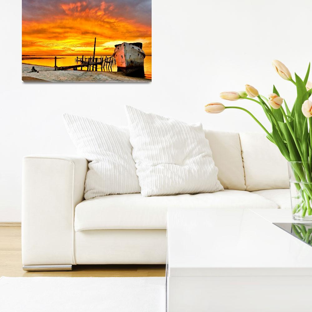 """""""Old Boat Yellow Red Sunrise Fine Art Giclee Prints&quot  (2008) by eszra"""