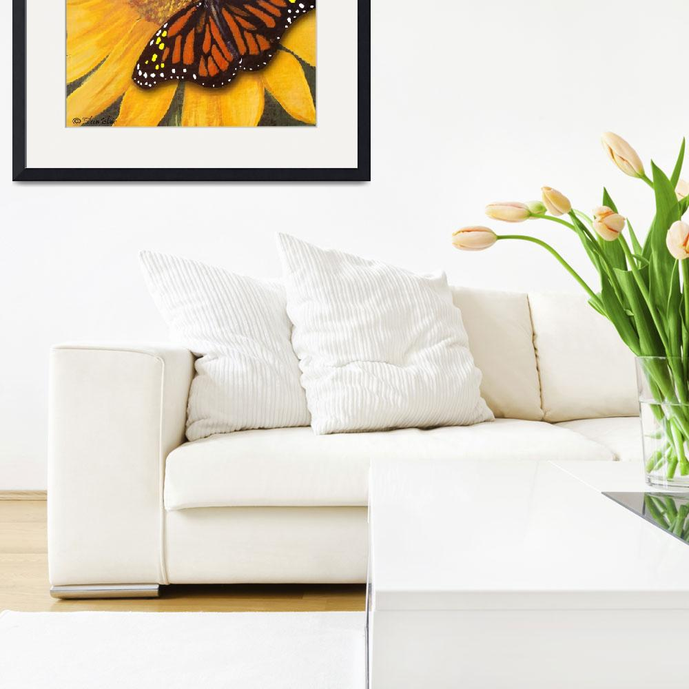 """""""Sunflower & Butterfly Painting""""  (2009) by EMBlairArtwork"""