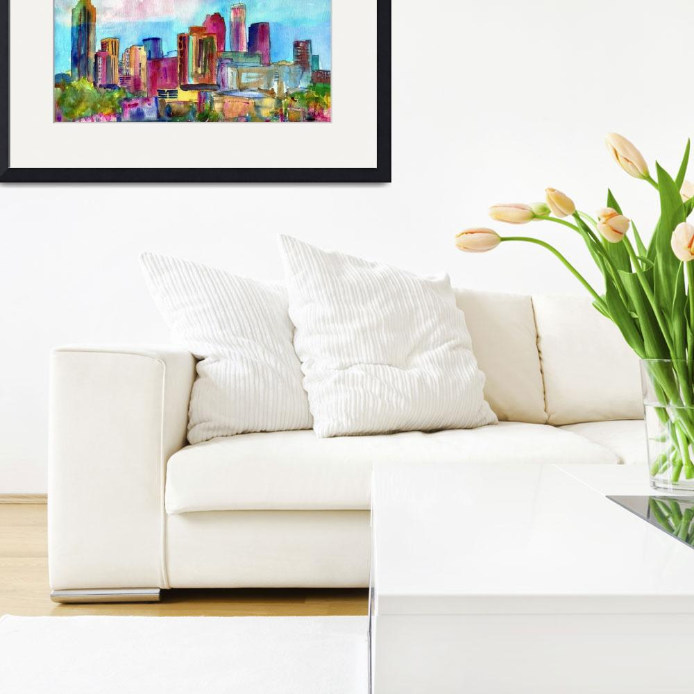 """""""Atlanta Visions, Watercolor abstract skyline paint&quot  by schulmanart"""