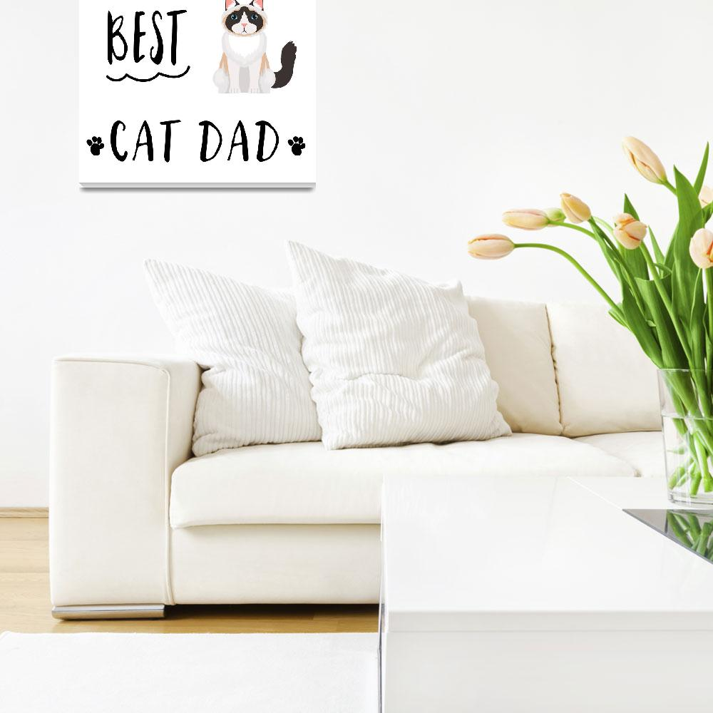 """Worlds_Best_Cat_Dad_Black_and_White""  by miscellaneastudios"