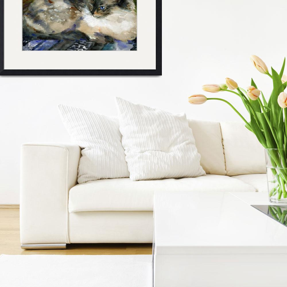 """""""Siamese Basking, Watercolor Painting Animal Cat Ar&quot  (2008) by schulmanart"""