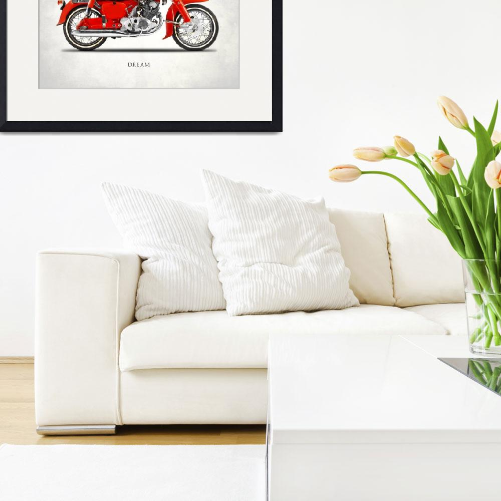 """The Honda Dream Classic Motorcycle&quot  by mark-rogan"