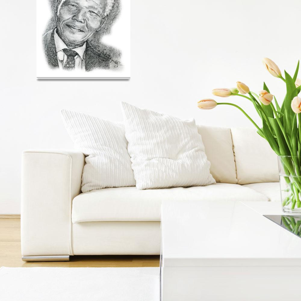 """""""Hand Drawn Portrait of Nelson Mandela&quot  by CreativeArtisticNuance"""
