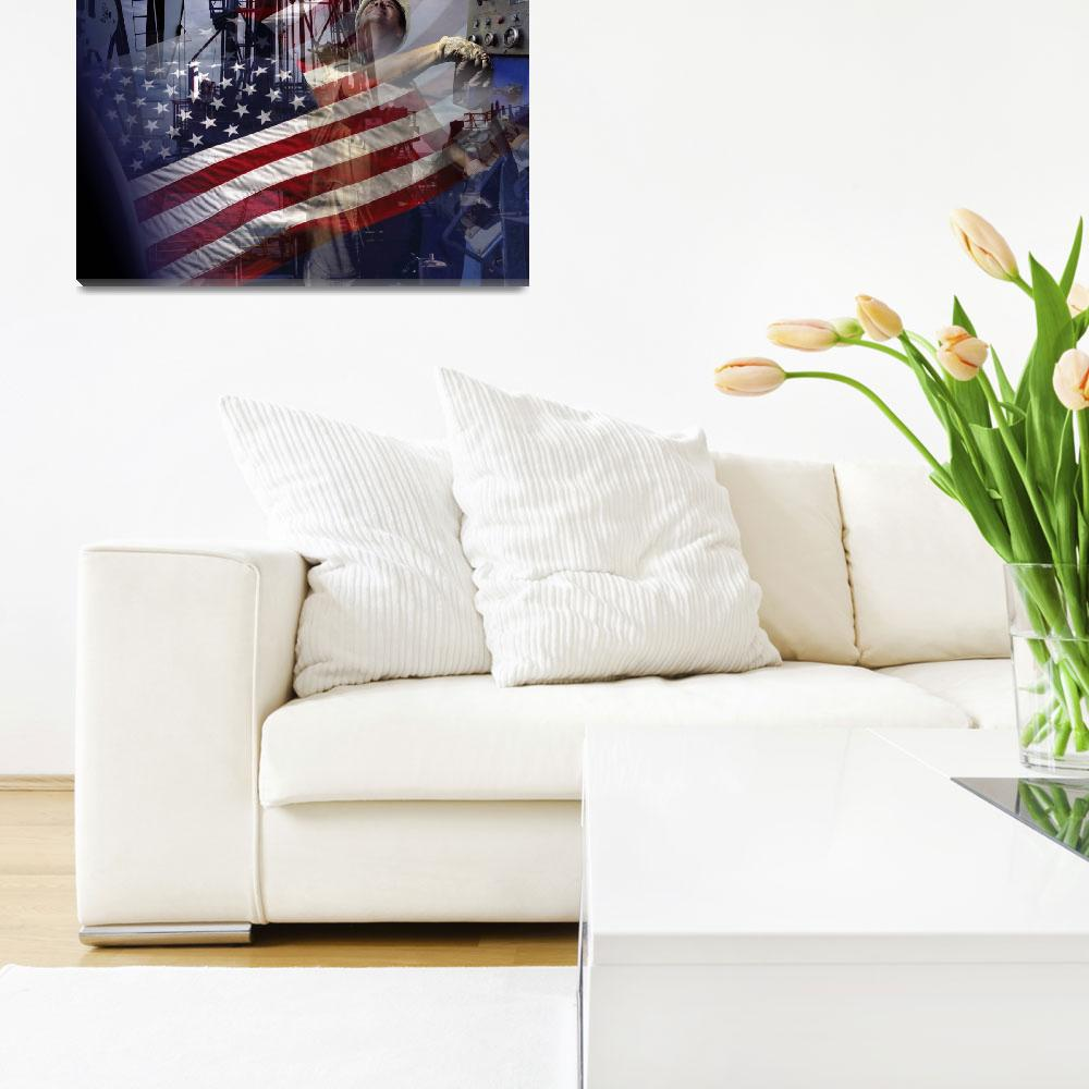 """""""Dramatic American Flag-Oil Gas Industry-Tribute&quot  (2015) by Tulsa1000"""