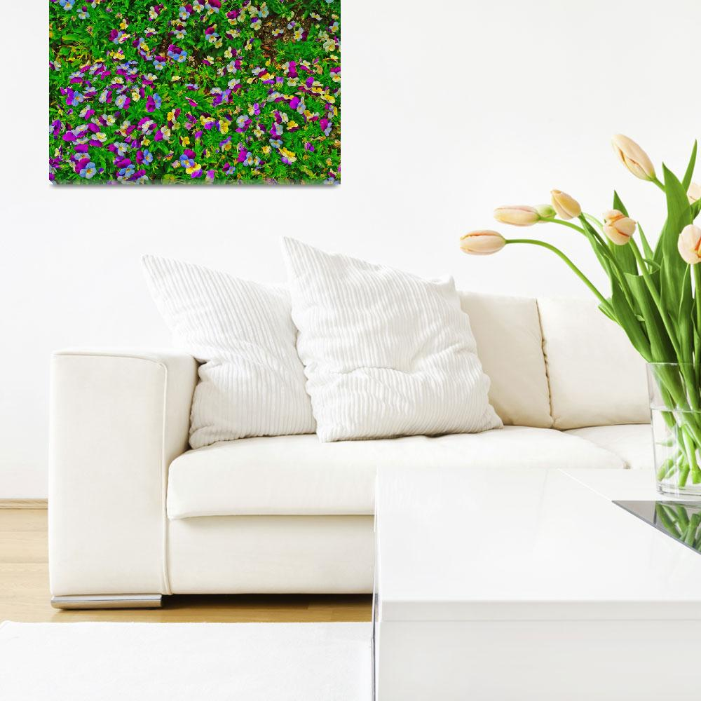"""""""Purple White Yellow Flowers Bold Colors&quot  (2008) by brianyoung81"""