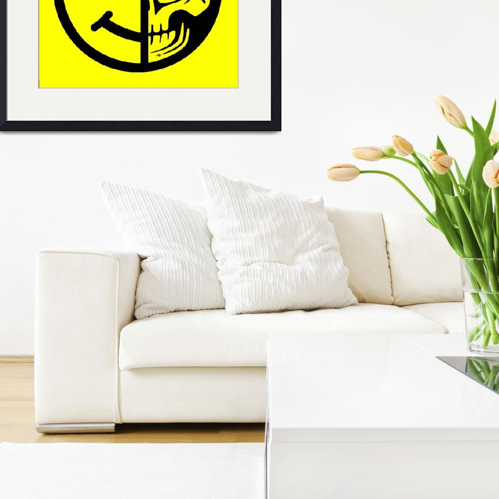 """Smiley Face Skull Yellow&quot  (2018) by RubinoFineArt"
