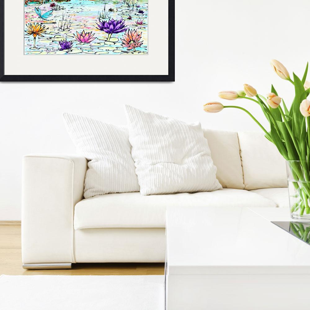"""""""Monet Water Lilies Inspired Contemporary Flowers&quot  (2017) by LindaPaul"""