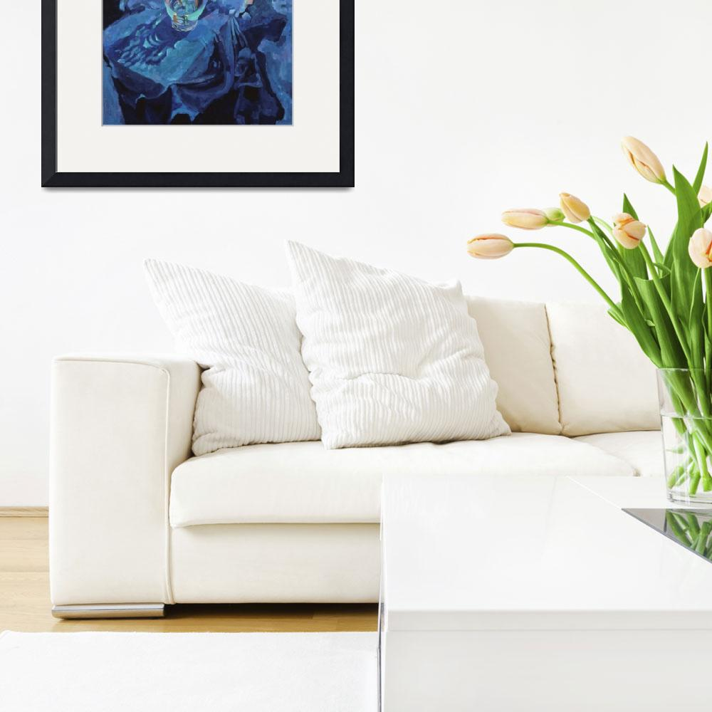 """""""Blue Arrangement with Lisianthus&quot  (1997) by robyndrake"""