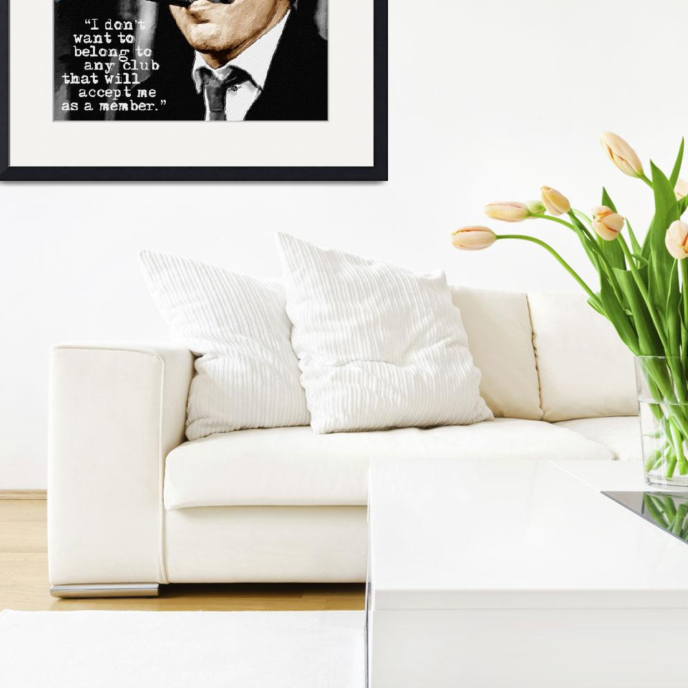 """""""Groucho Marx And Quote Square&quot  by RubinoFineArt"""