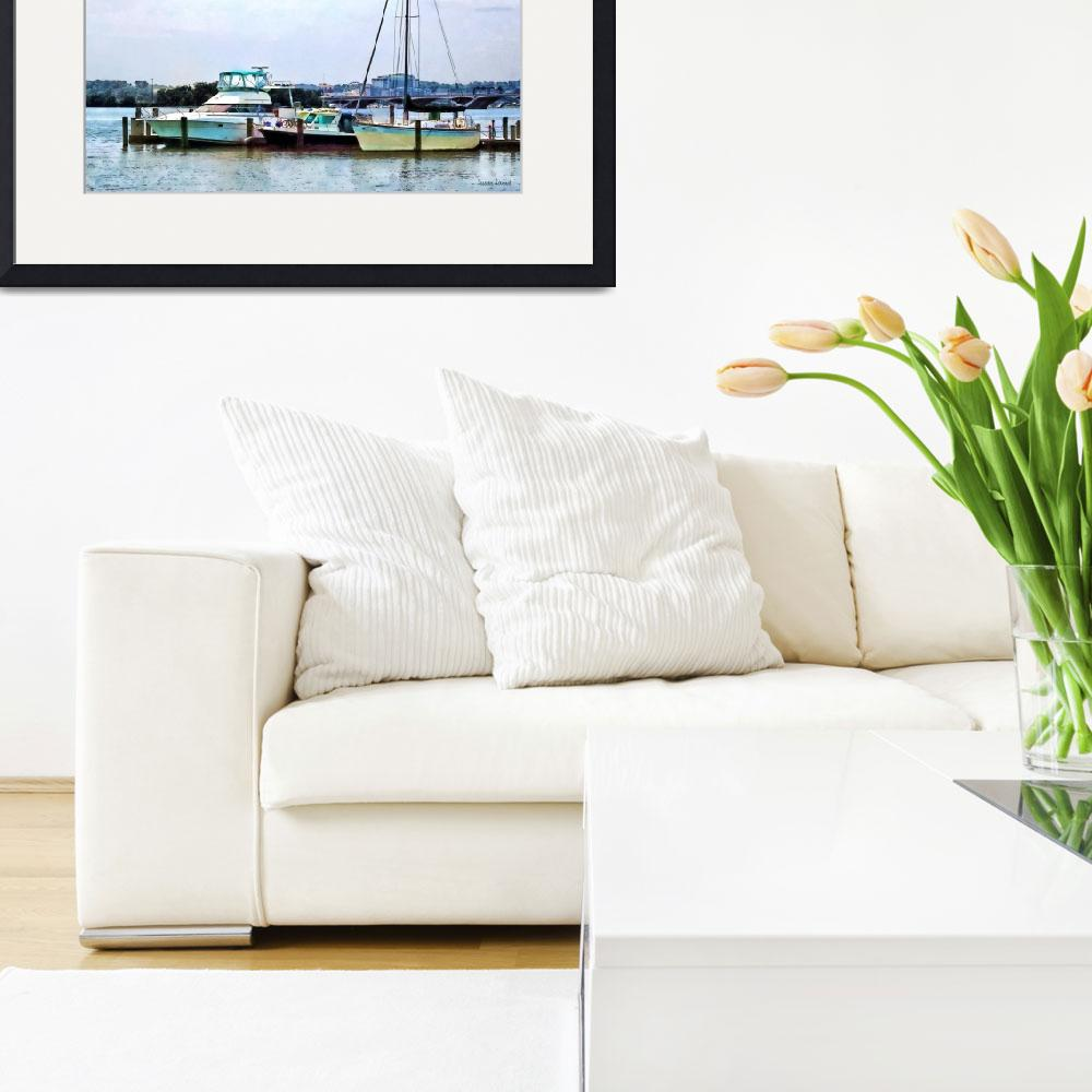 """""""Boats on the Potomac Near Founders Park&quot  by susansartgallery"""