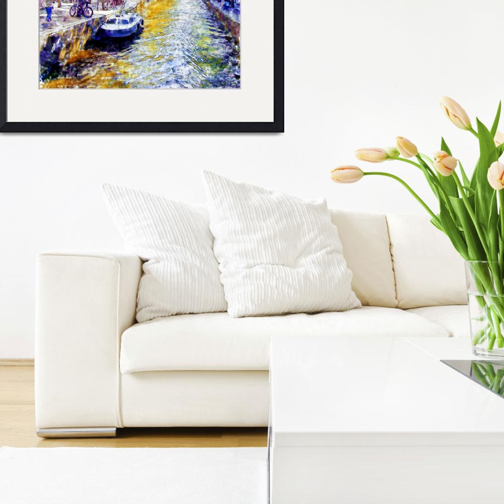 """""""Amsterdam Canal watercolor&quot  (2015) by MarianVoicu"""