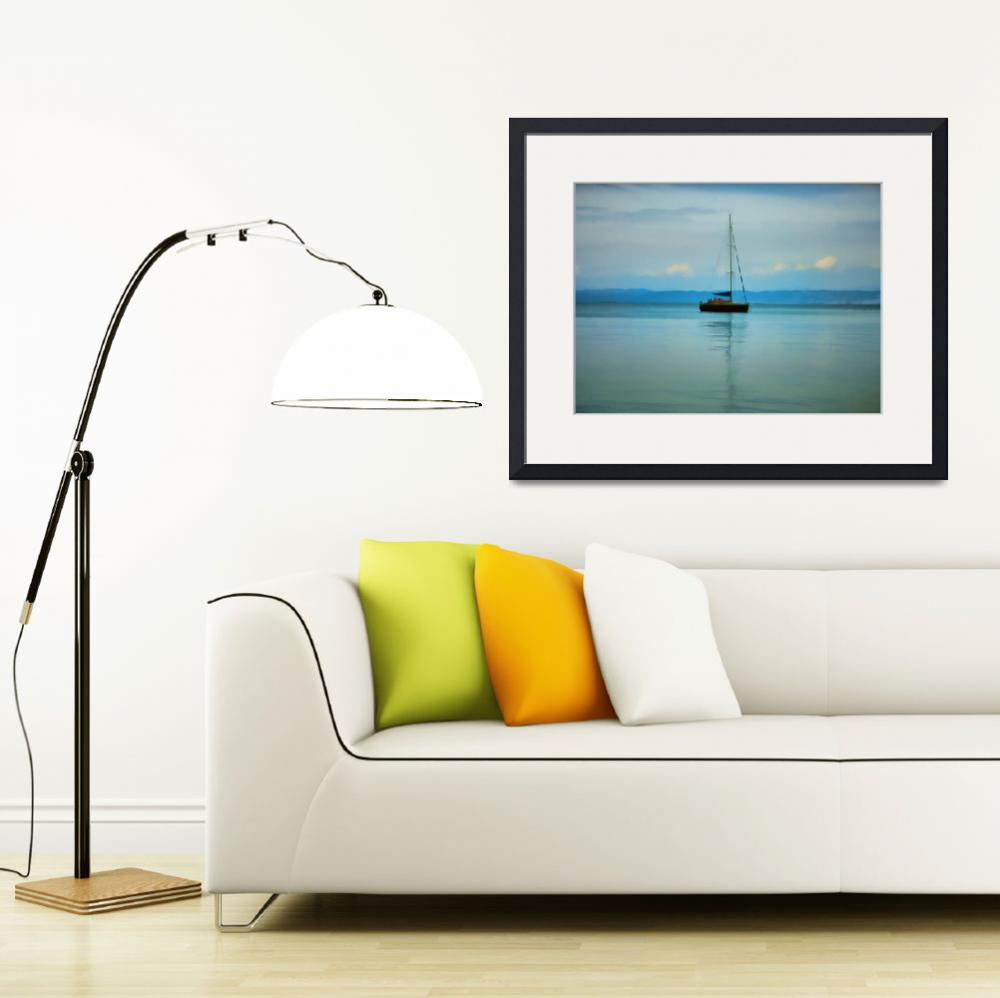 """""""Still water with yacht&quot  (2012) by DaveRowley"""