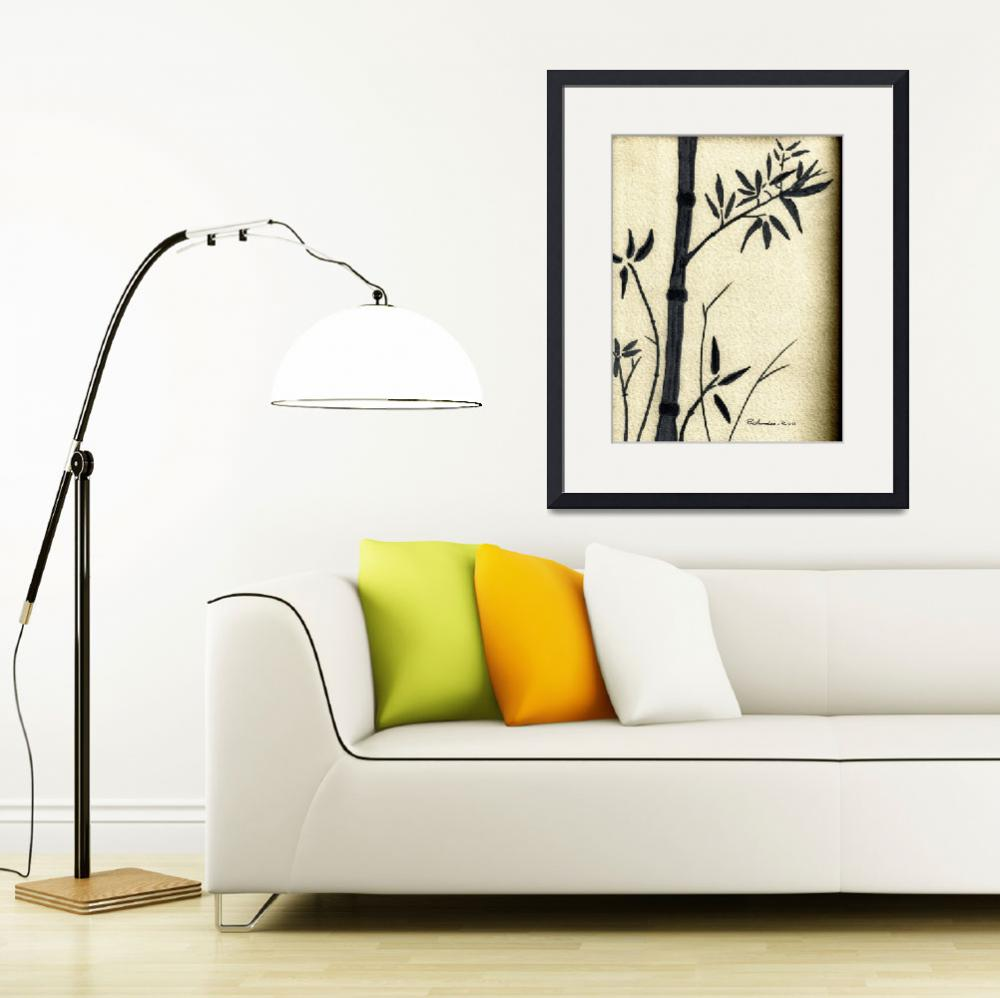 """""""Zen Sumi Antique Bamboo 1a Black Ink on Watercolor&quot  (2011) by Ricardos"""