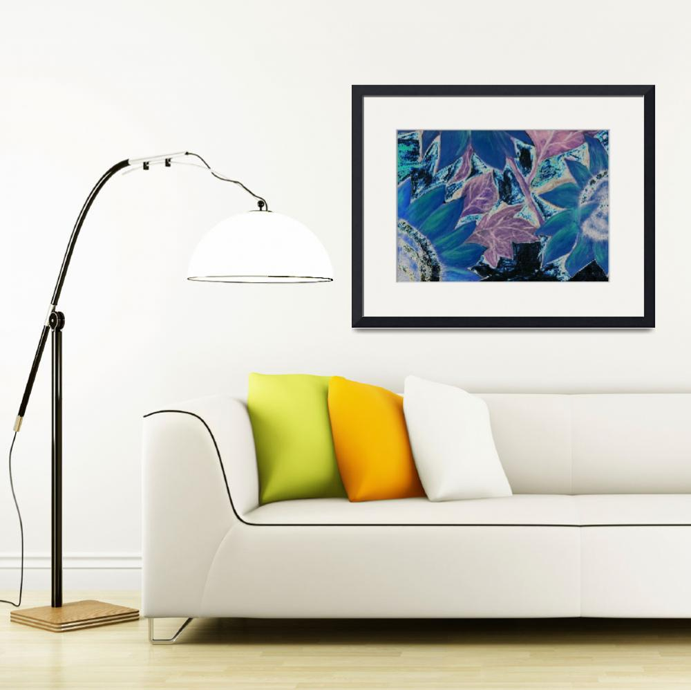 """Oil Sunflower blue surreal modern painting print""  (2008) by derekmccrea"