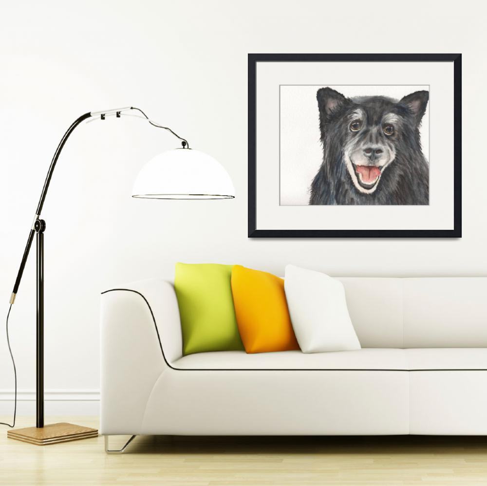 """Sasha the Quiet Quarterback Keeshond Mix&quot  (2014) by Designomel"