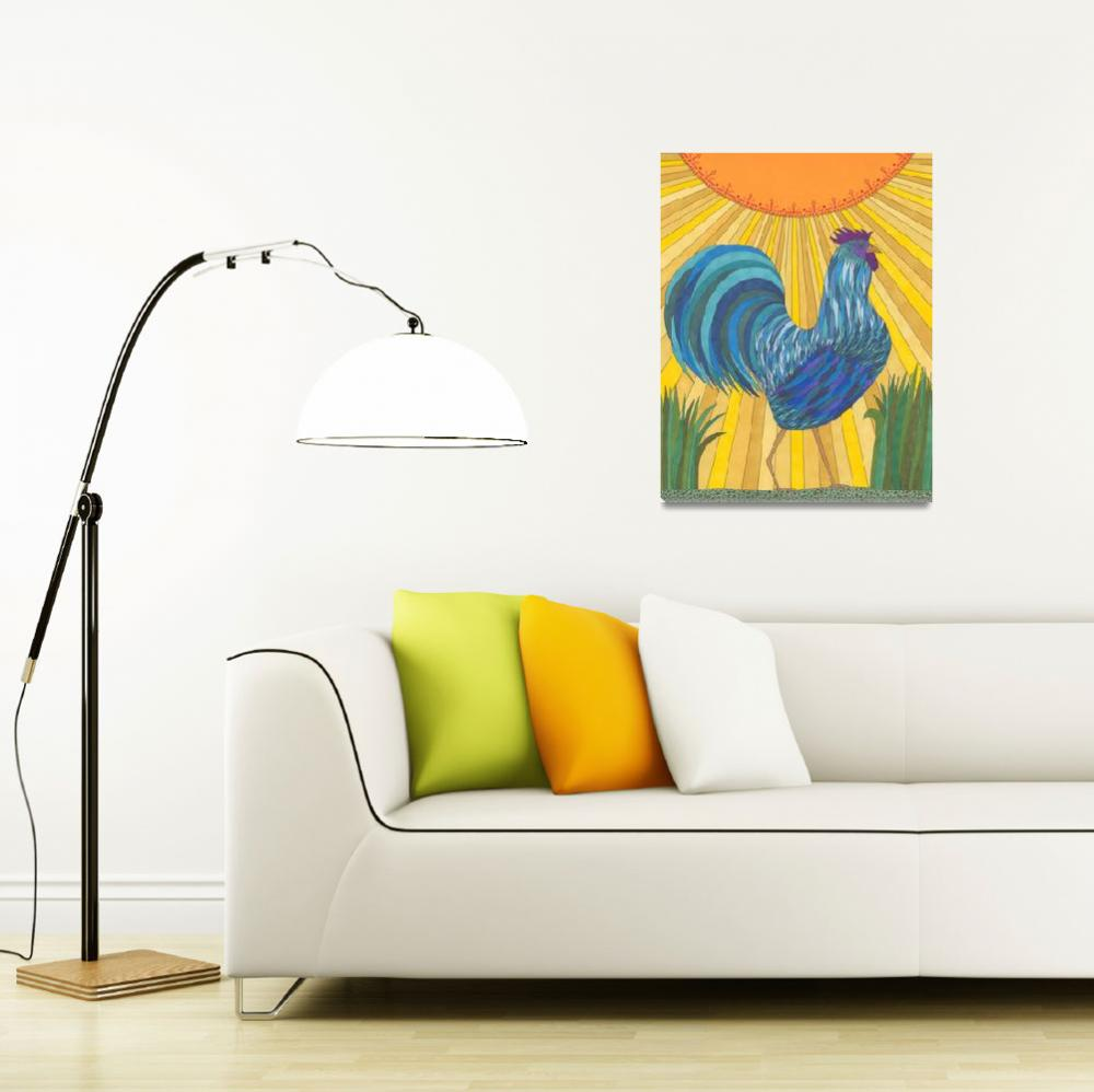 """""""Blue Rooster&quot  (2012) by Pamela_Schiermeyer"""