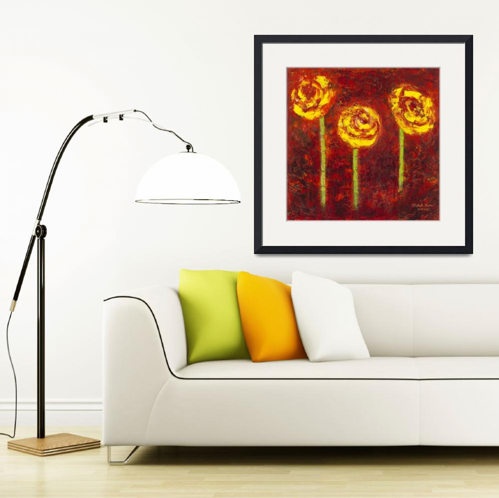 """""""Three Yellow Roses Oil on Canvas&quot  by misook"""