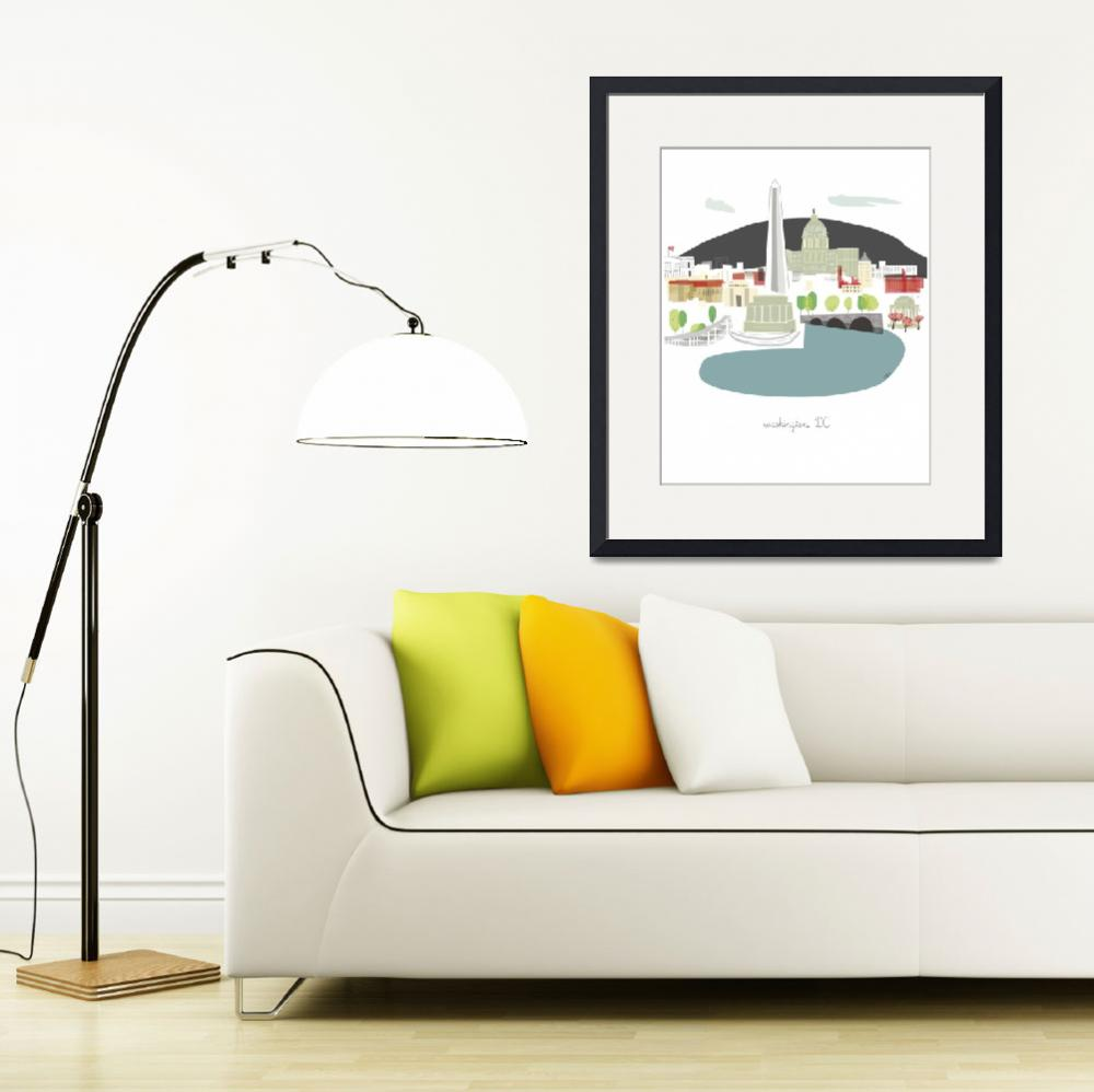 """""""Washington DC Modern Cityscape Illustration&quot  by AlbieDesigns"""