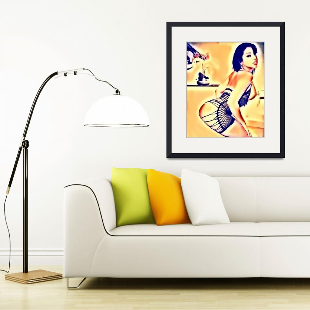 """""""Sexy brunette pin-up girl, erotic pose, erotic art&quot  by HMD"""
