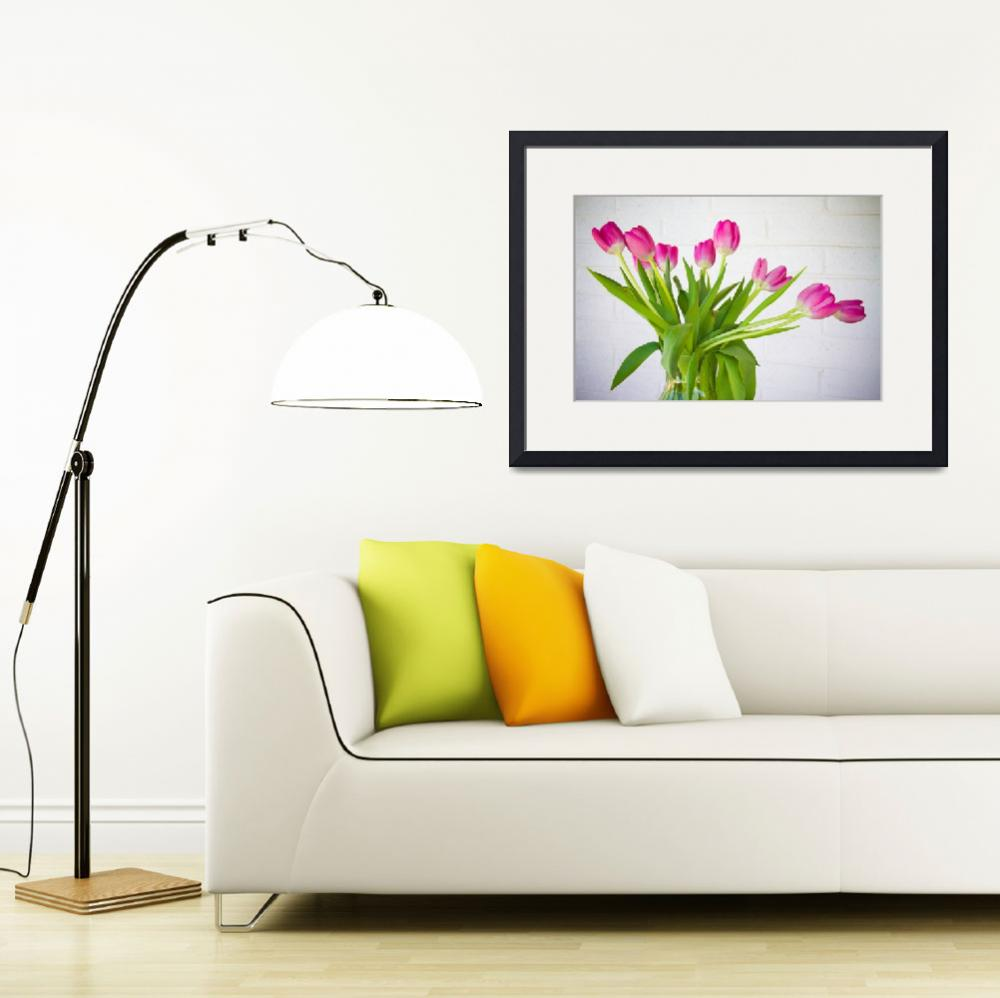 """""""Pink Tulips in a Vase""""  (2011) by lightningman"""